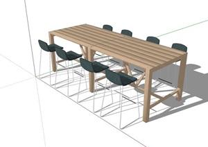 详细的户外餐桌椅凳SU(草图大师)模型