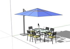 现代详细的户外餐桌椅SU(草图大师)模型