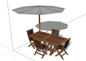 现代详细的户外伞桌椅SU(草图大师)模型
