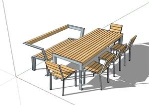 现代整体详细的户外餐桌椅SU(草图大师)模型