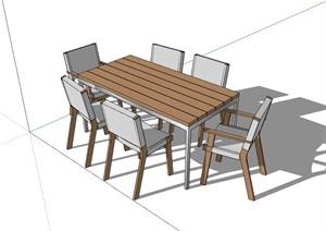 六人详细的户外餐桌椅SU(草图大师)模型
