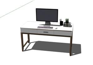 现代风格详细的电脑桌设计SU(草图大师)模型