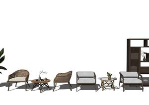 新中式户外椅休闲椅 茶几 架子 盆栽组合SU(草图大师)模型