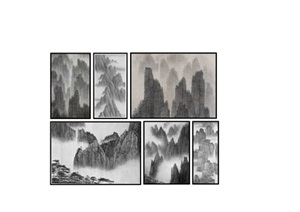 新中式山水画 水墨画装饰画 挂画SU(草图大师)模型