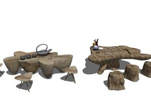 新中式茶几 木质茶几 茶桌椅SU(草图大师)模型