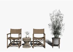 新中式休闲椅茶几组合 椅子 盆栽SU(草图大师)模型