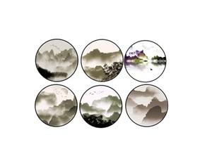 新中式山水画 水墨画装饰画 挂画SU(草图大师)模型6