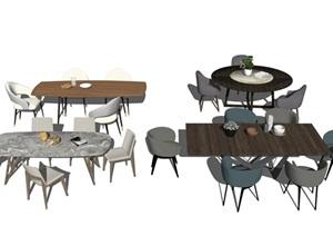 现代餐座椅组合SU(草图大师)模型3