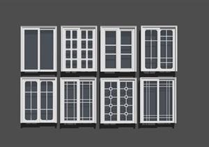 欧式 玻璃推拉门组合SU(草图大师)模型