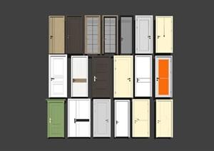 现代风格现代实木单开门组合 门板SU(草图大师)模型