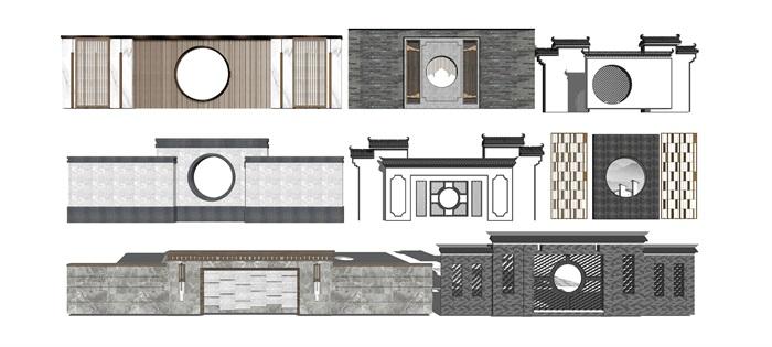 新中式景观小品 景墙su模型(2)