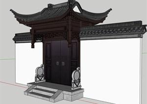 古典中式垂花門SU(草圖大師)模型