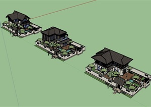 东南亚小别墅详细完整设计SU(草图大师)模型