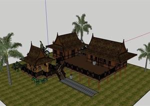 东南亚民居住宅楼设计SU(草图大师)模型