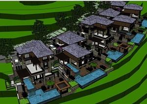 东南亚风格坡地度假山地别墅设计SU(草图大师)模型