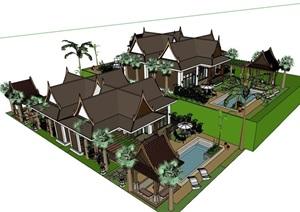 东南亚风格的度假别墅设计SU(草图大师)模型