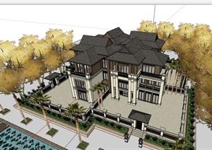 东南亚风格详细的多层别墅设计SU(草图大师)模型