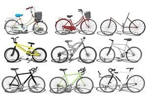 现代自行车 单车组合SU(草图大师)模型