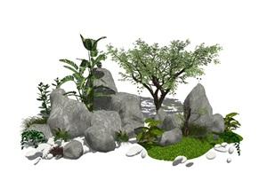 新中式假山叠石 石头植物 景观小品SU(草图大师)模型