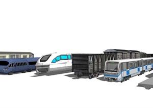 现代高铁火车组合SU(草图大师)模型