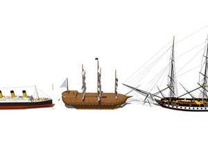 现代船、船只小品素材设计SU(草图大师)模型