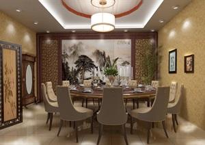 中式酒店餐厅装修设计cad施工图及效果图