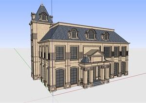完整的独特居住别墅SU(草图大师)模型