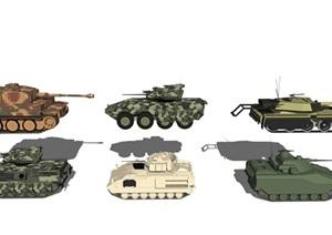 现代豹式坦克 坦克组合SU(草图大师)模型6