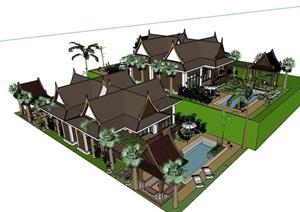 某东南亚风格整体详细别墅设计SU(草图大师)模型
