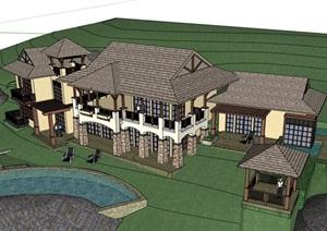 某东南亚风格度假详细别墅设计SU(草图大师)模型