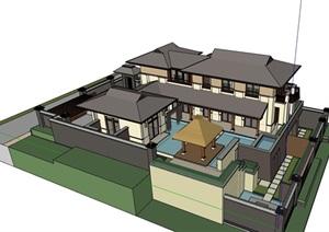 详细的东南亚别墅多层设计SU(草图大师)模型