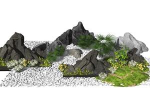 新中式假山石头景观小品庭院景观枯山水片石假山SU(草图大师)模型