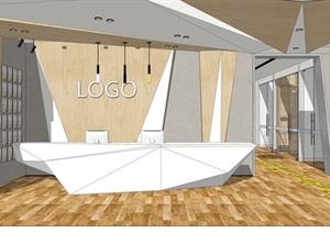 现代办公室会议室前台办公空间SU(草图大师)模型