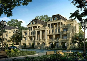 法式联排别墅完整建筑SU(草图大师)模型带效果图