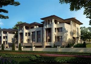 欧式风格完整的小区住宅别墅建筑SU(草图大师)模型带效果图