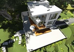 现代多层别墅设计SU(草图大师)模型及效果图