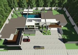 完整的详细别墅建筑设计SU(草图大师)模型及效果图