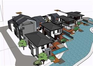 中式风格完整的别墅设计SU(草图大师)模型