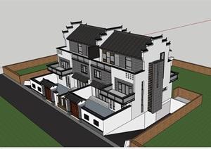中式风格详细的整体别墅建筑设计SU(草图大师)模型