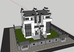 某中式风格详细的完整别墅设计SU(草图大师)模型