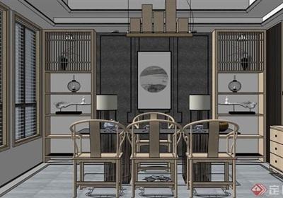 完整的中式室内桌椅素材su亿博网络平台