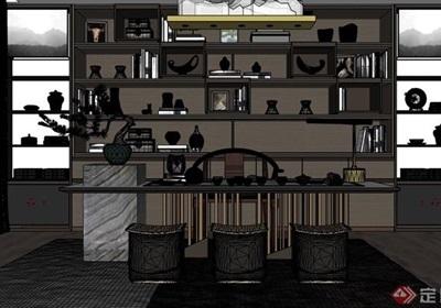 中式风格室内桌椅柜子素材su亿博网络平台