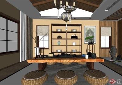 中式风格室内茶桌椅素材su亿博网络平台