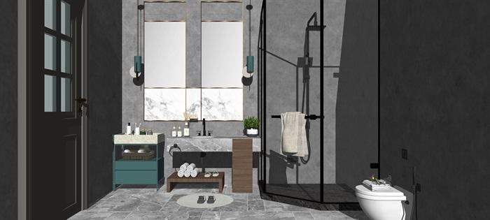 现代轻奢卫生间 卫浴 洗手台 马桶 浴缸 淋浴间su亿博网络平台(1)