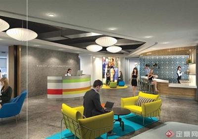 现代广场办公室装饰cad施工图+效果图+预算