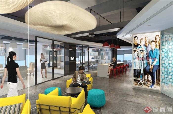 現代廣場辦公室裝飾cad施工圖+效果圖+預算