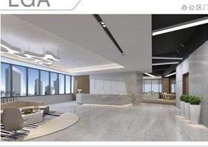 现代详细的办公室设计cad施工图+效果图+材料清单