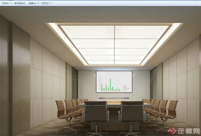 現代詳細的辦公空間裝飾cad施工圖+效果圖