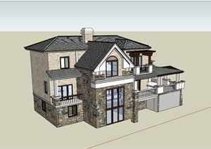 欧式风格整体详细的别墅住宅设计SU(草图大师)模型