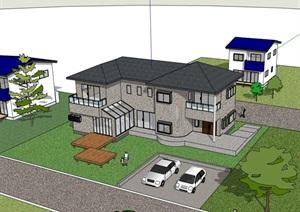 欧式风格整体详细的完整别墅住宅设计SU(草图大师)模型